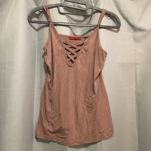 Brown BKE crisscross tank top
